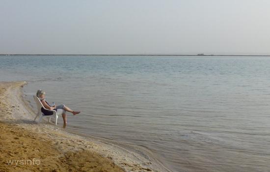 Dead Sea - Woman Sunbathing