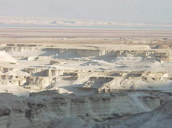 Chalk Hills Carved by Winds and Floods by Dead Sea