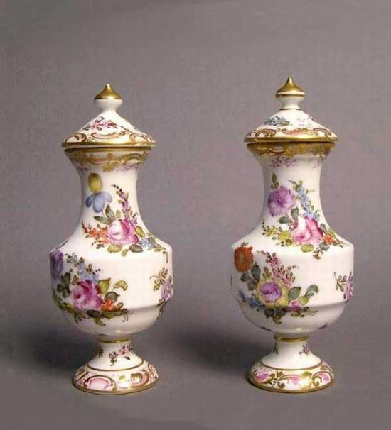 Antique French Rococo gilt porcelain perfume-bottles