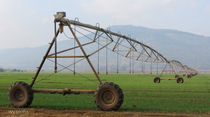 Water Sprinkler System in Cultivated Fields - Hula Valley
