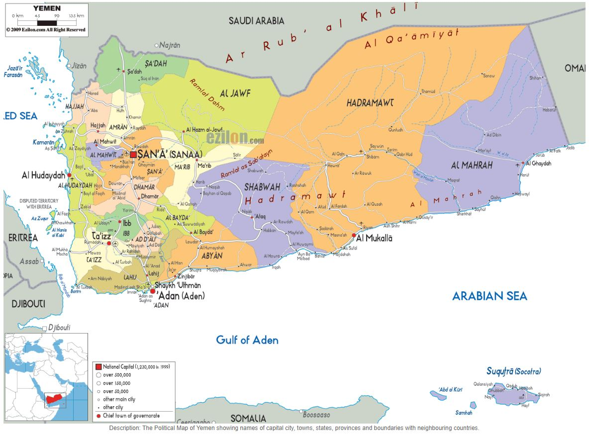 Yemen - map credit: Ezilon.com