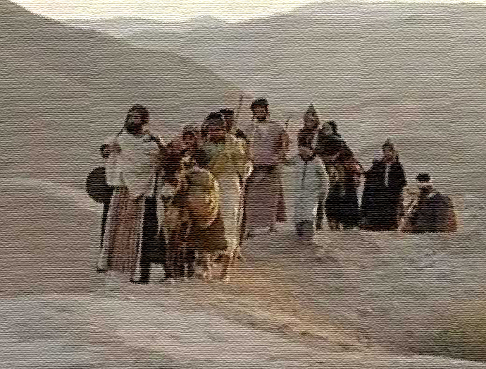 Jewish family on their long walk in the desert from home in Yemen to Aden from which they would continue by boat or plane to Israel