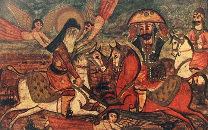Ali fighting Marhab, the Jewish chieftain of Khaybar