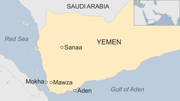 Map of Yemen showing location of Mawza, Mocha, Sana'a and Aden. Credit:http://www.bbc.com/news/world-middle-east-40655127