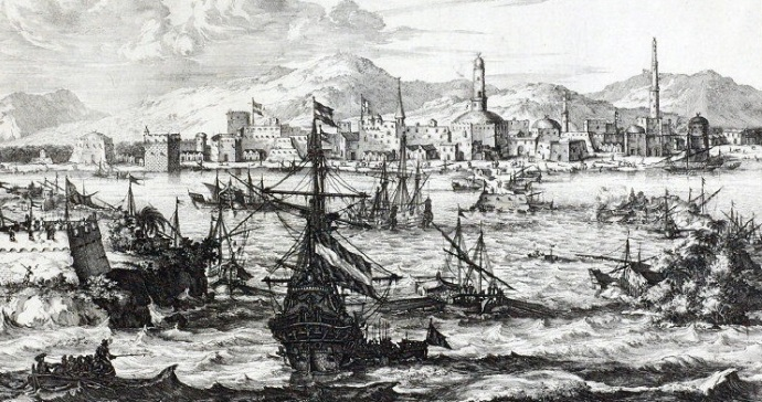 View of Mocha during the second half of the 17th century. Dutch geographer/engraver Olfert Dapper, 1680