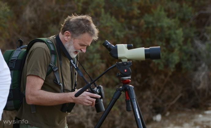 Birder at the International Migratory Bird Festival - Eilat