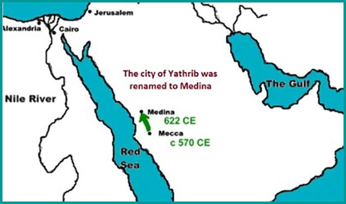Map showing Yathrib renamed to Medina