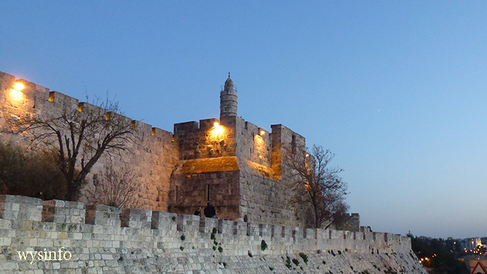 Tower of David seen from the Crossing between Mamilla Promenade and Jaffa Gate of Old City of Jerusalem